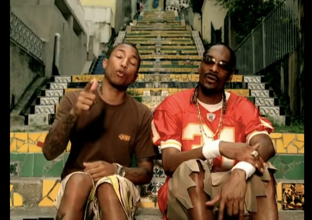 Pharell and Snoop Dogg at the Famous Lapa Stairs in Brazil, shooting 'Beautiful'