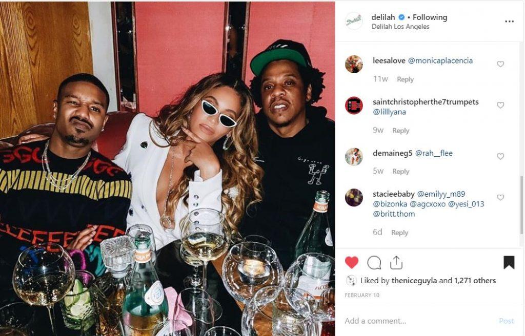 Beyonce, Jay-Z, and Michael B Jordan Celebrating Jordan's Birthday at Delilah in West Hollywood
